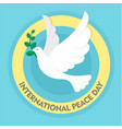 pigeon olive branch peace background flat style vector image