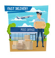 post office and mail delivery poster with mailman vector image vector image