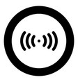 radio signal the black color icon in circle or vector image vector image