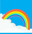 rainbow in the sky dash line contour fluffy cloud vector image vector image