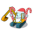 santa with candy excavator mascot cartoon style vector image vector image