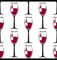 seamless pattern with black wineglass with wine vector image vector image