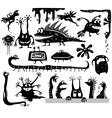 set cartoon monsters vector image vector image