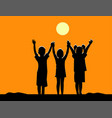 silhouette of three children friendship at sunset vector image