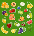 stickers with fresh natural fruits and berries vector image vector image