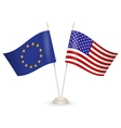 Table stand with flags of EU and USA vector image vector image