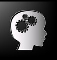 thinking head sign gray 3d printed icon vector image vector image
