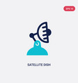 two color satellite dish icon from communication vector image