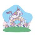 unicorn flying on landscape vector image