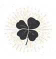 vintage label hand drawn lucky four leaf clover vector image vector image
