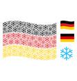 waving german flag collage of snowflake icons vector image