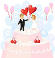 Wedding pink cake with figurines of the bride and vector image