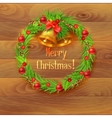 Christmas wreath with bells on a wooden background vector image