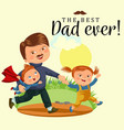 dad with kids walking park happy fathers day vector image