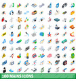 100 mains icons set isometric 3d style vector image vector image