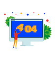 404 error page web site on desktop computer vector image vector image