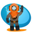 a man in an old diving suit diving and tourism vector image