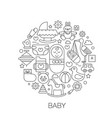 baby kids in circle - concept line vector image vector image