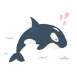 baby print with blue orca hand drawn graphic vector image