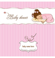 baby shower card with little baby girl play with vector image