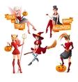 Beautiful women in Halloween costumes fairy with vector image vector image