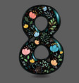 black glared number eight with watercolor flowers vector image vector image