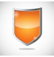 Blank orange gold shield in metallic frame vector image