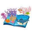 book underwater and sea animals vector image vector image