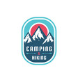 camping hiking - concept badge mountain vector image vector image