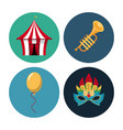 circus carnival round icons vector image