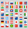 Collection of flag icon rounded square flat design vector image vector image