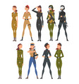 collection woman soldiers or officers in combat vector image