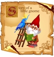 Cute gnome with parrot reading a book vector image