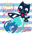 cute surfer cat and big wave vector image vector image