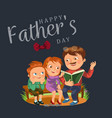 dad read book for children in park wooden bench vector image