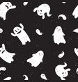 fun hand drawn ghosts seamless pattern cute and vector image vector image