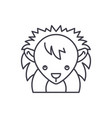 funny hedgehog line icon concept funny hedgehog vector image