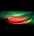 glossy light effect neon glowing waves shiny vector image