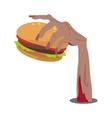 Hamburger in Zombie Hand Flat vector image vector image