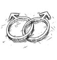 hand drawing male and male symbol vector image vector image