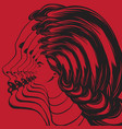 hand drawn realistic woman tattoo artwork vector image vector image