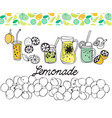hand drawn set of lemonade on white background vector image vector image