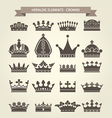 Heraldic symbols - royal crowns icon set vector image vector image