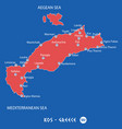 island of kos in greece red map vector image vector image
