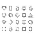 Jewels diamond line icon and outline gemstones