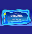 merry christmas and new year postcard with vector image vector image
