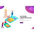 mobile communication network landing web page vector image vector image