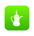 oriental teapot icon digital green vector image vector image