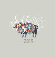 original new year poster - 2019 year of the pig vector image vector image