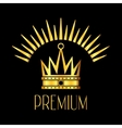 Premiun glowing crown logo in gold black vector image vector image